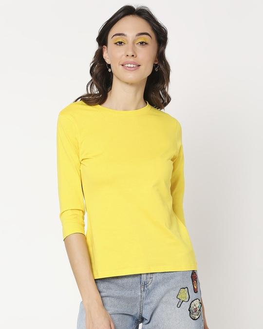 Shop Yolo Yellow 3/4 Sleeve T-Shirt-Back