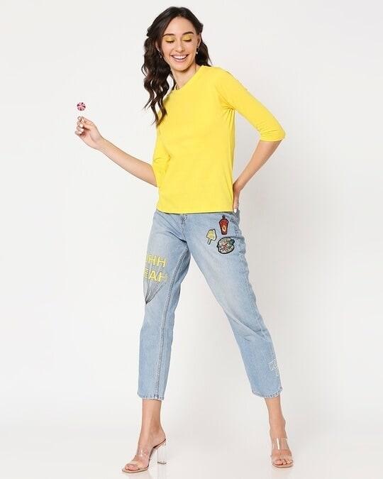 Shop Yolo Yellow 3/4 Sleeve T-Shirt