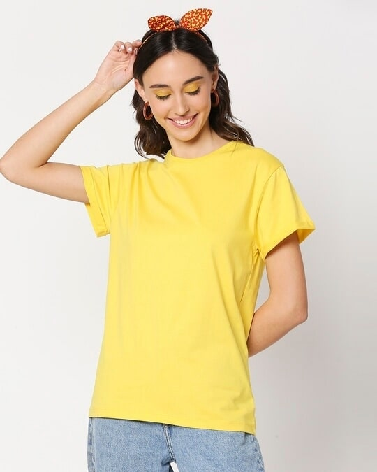 Shop Yolo Yellow Boyfriend Sleeve T-Shirt-Front
