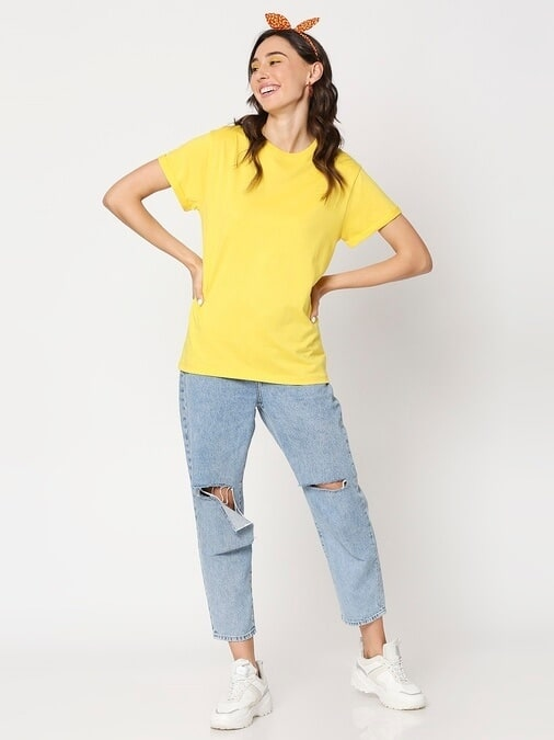 Shop Yolo Yellow Boyfriend Sleeve T-Shirt