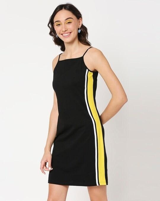 Shop Yolo Yellow Alter Neck Dress-Full