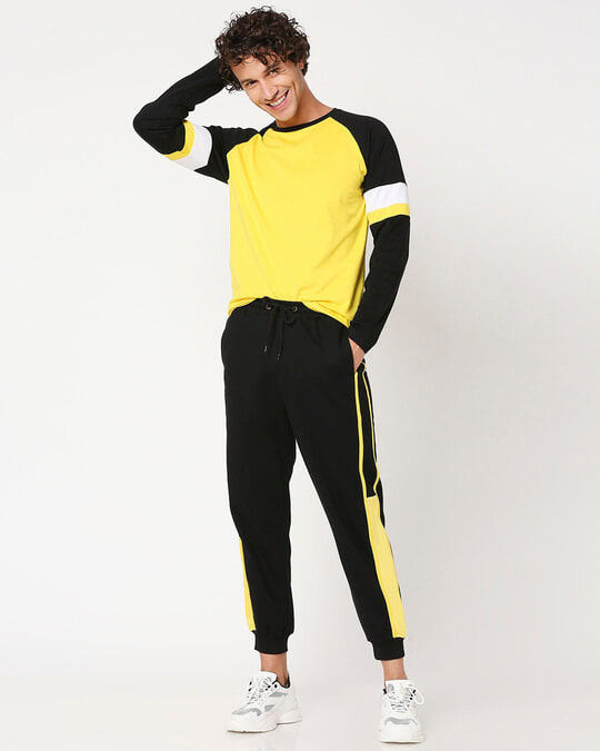 Shop Yolo Yellow Color Block Joggers-Full