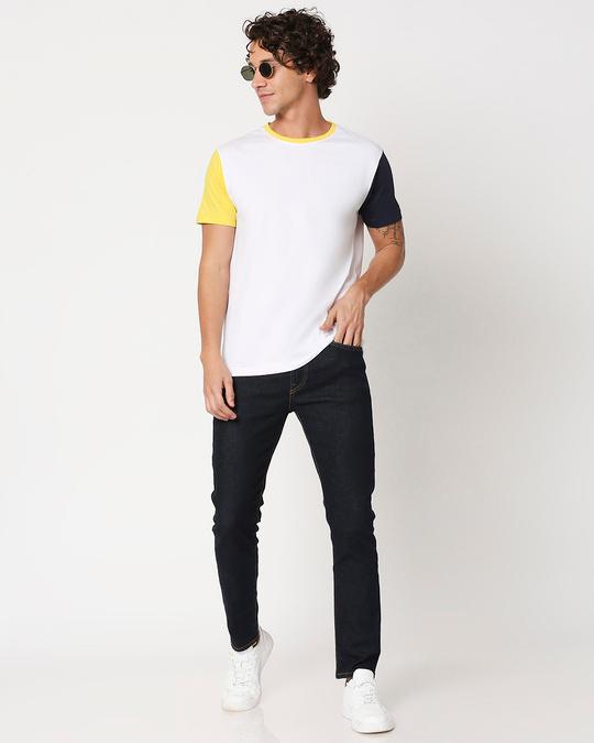 Shop Yolo Yellow Contrast Sleeve T-Shirt