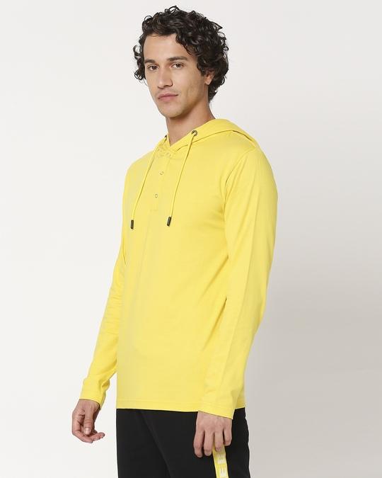 Shop Yolo Yellow Henley Hoodie T-Shirt-Design