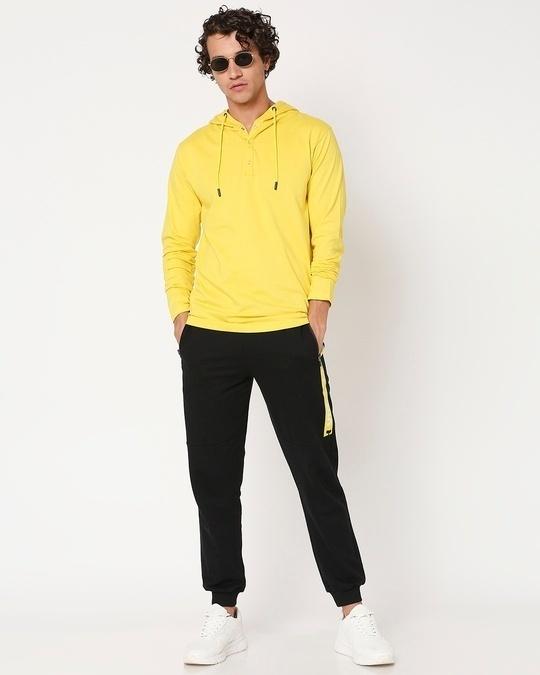Shop Yolo Yellow Henley Hoodie T-Shirt