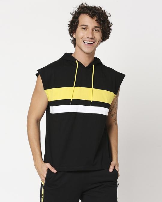 Shop Yolo Yellow Sport Trim Hoodie Vest-Back