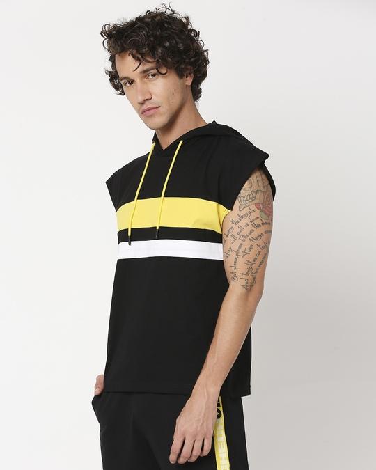 Shop Yolo Yellow Sport Trim Hoodie Vest-Design
