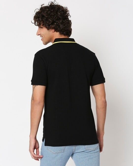 Shop Black Color Block Tipping Polo-Full