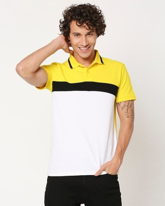 Shop Yolo Yellow Color Block Tipping Polo-Design