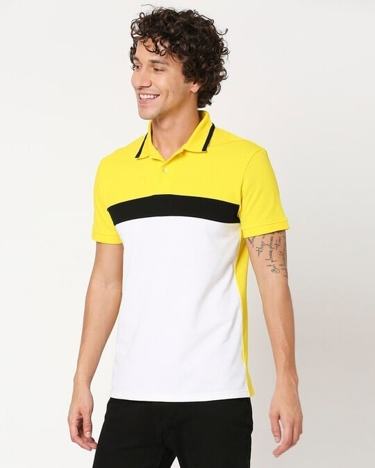 Shop Yolo Yellow Color Block Tipping Polo-Full