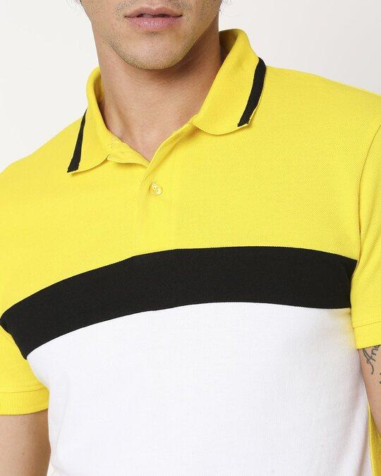 Shop Yolo Yellow Color Block Tipping Polo