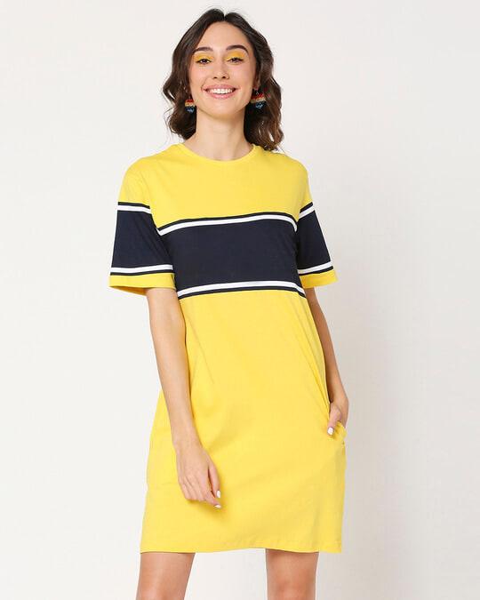 Shop Yolo Yellow Color Block T-Shirt Dress-Front