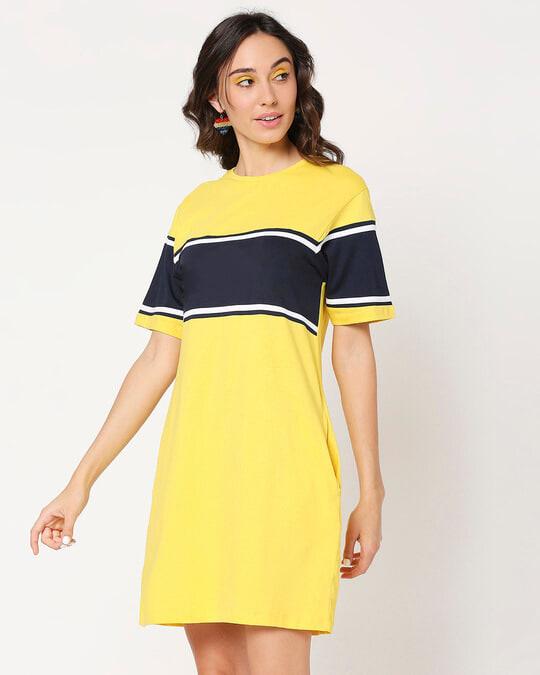Shop Yolo Yellow Color Block T-Shirt Dress-Back