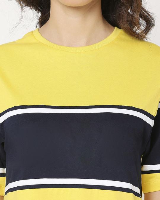 Shop Yolo Yellow Color Block T-Shirt Dress-Full