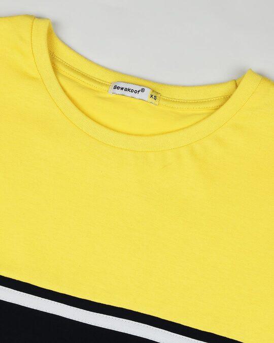 Shop Yolo Yellow Color Block T-Shirt Dress