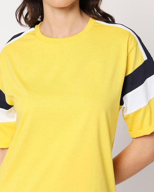 Shop Yolo Yellow Color Block Boyfriend T-Shirt
