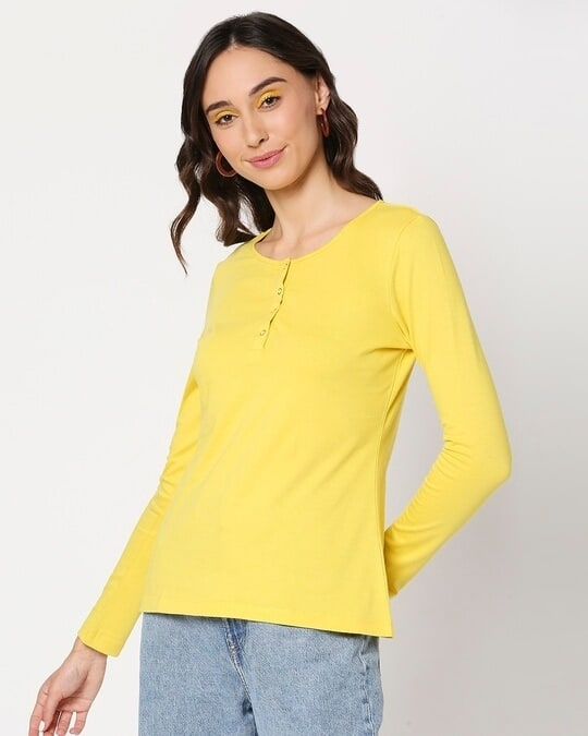 Shop Yolo Yellow Henley T-Shirt-Design
