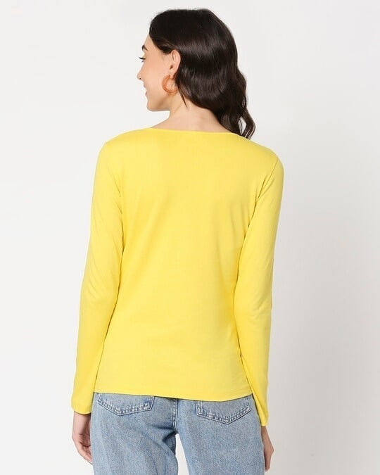 Shop Yolo Yellow Henley T-Shirt-Full