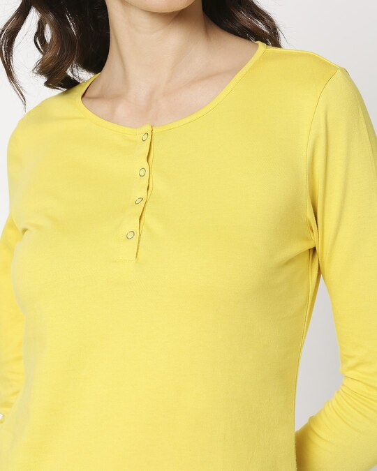 Shop Yolo Yellow Henley T-Shirt