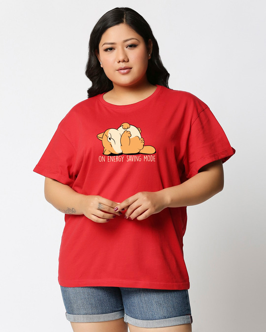 Shop Energy Saving Mode On Boyfriend Plus Size T-Shirt-Front