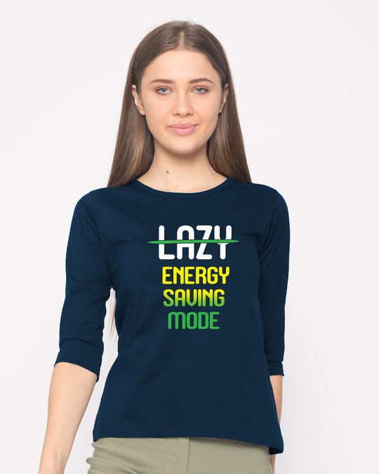 Shop Energy Saving Mode Round Neck 3/4th Sleeve T-Shirt-Front