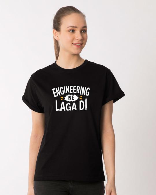 Shop Engineering Ne Laga Di Boyfriend T-Shirt-Front