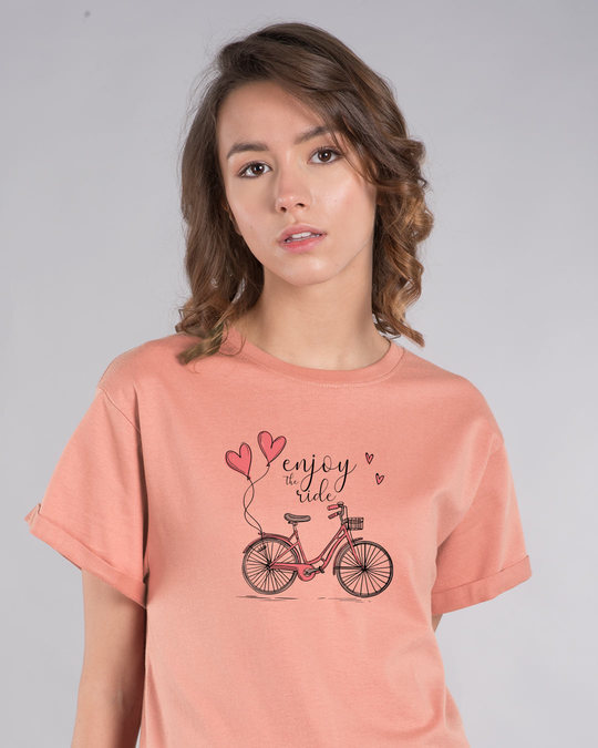 Shop Enjoy The Ride Bicycle Boyfriend T-Shirt-Front