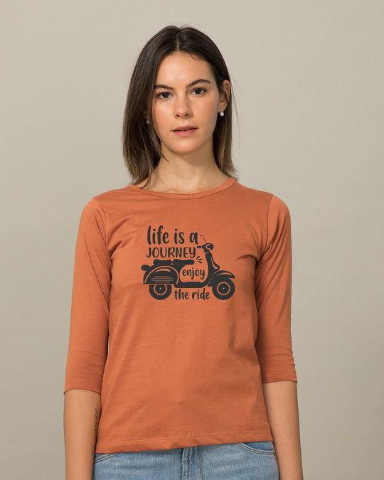 Shop Enjoy The Ride Round Neck 3/4th Sleeve T-Shirt-Front