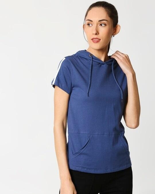 Shop Ensgn Blue Half Sleeve Hoodie T-Shirt-Front