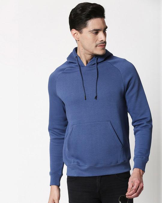 Shop Ensign Blue Basic Hoodie Sweatshirt-Front