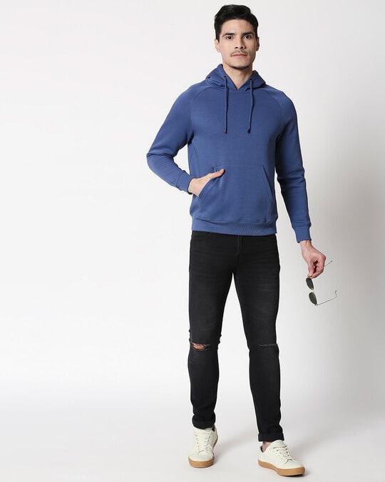 Shop Ensign Blue Basic Hoodie Sweatshirt