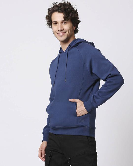 Shop Ensign Blue Stylised Panel Hoodie Sweatshirt-Back