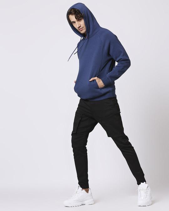 Shop Ensign Blue Stylised Panel Hoodie Sweatshirt-Full