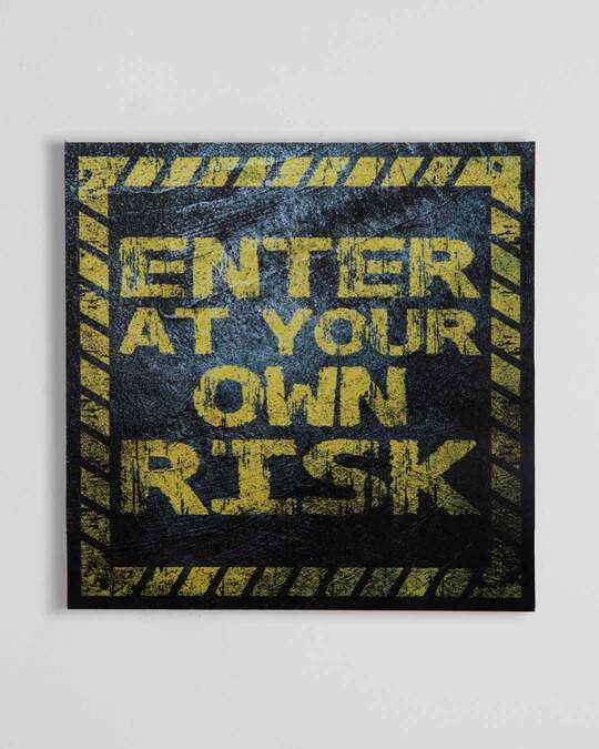"Shop Enter at your Risk Square Graphic Board -12""x12"" Multicolor-Front"