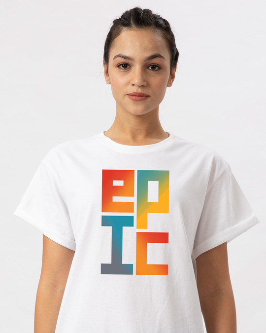Shop Epic Stack Boyfriend T-Shirt-Front