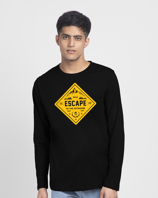 Shop Escape to outdoors Full Sleeve T-Shirt Black-Front