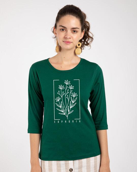 Shop Euphoria Flowers Round Neck 3/4th Sleeve T-Shirt - Dark Forest Green-Front