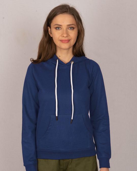 Shop Evening Blue Fleece Hoodies-Front