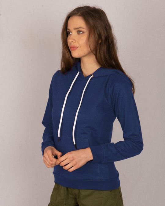 Shop Evening Blue Fleece Hoodies-Back