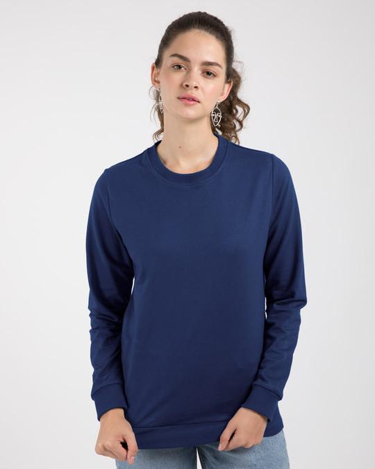 Shop Evening Blue Fleece Light Sweatshirt-Front