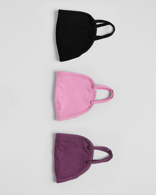 Shop 2-Layer Everyday Protective Mask - Pack of 3 (Jet Black-Frosty Pink- Deep Purple)-Design
