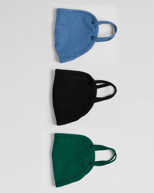 Shop 2-Layer Everyday Protective Mask - Pack of 3 (Jet Black-Prussian Blue-Dark Forest Green)-Design