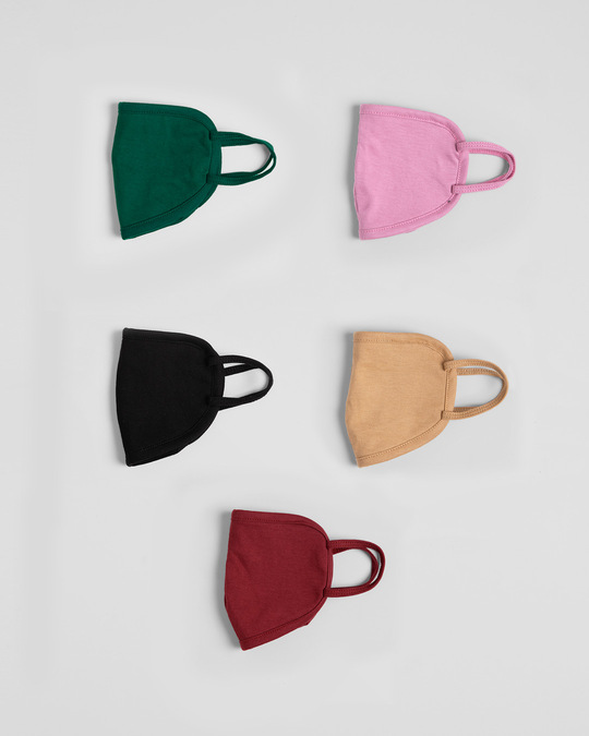 Shop 2-Layer Everyday Protective Mask - Pack of 5 (Dark Forest Green-Frosty Pink-Jet Black-Dusty Beige-Scarlet Red)-Design