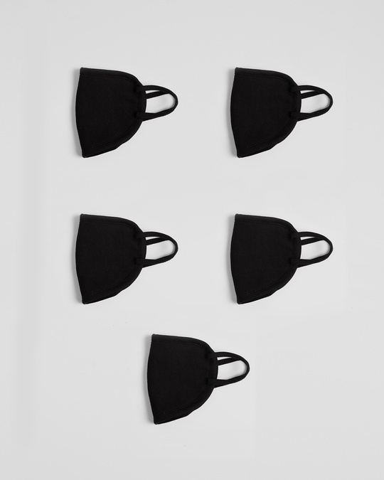 Shop 2-Layer Everyday Protective Mask - Pack of 5 (Jet Black x 5)-Design