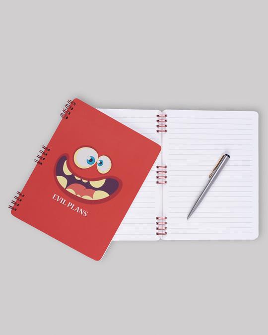 Shop Evil Plans Spiral Notebooks-Back