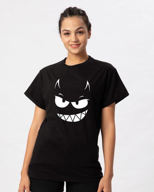 Shop Evil Smiley Boyfriend T-Shirt-Front