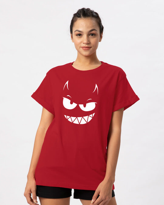 Shop Evil Smiley Boyfriend T-Shirt-Front