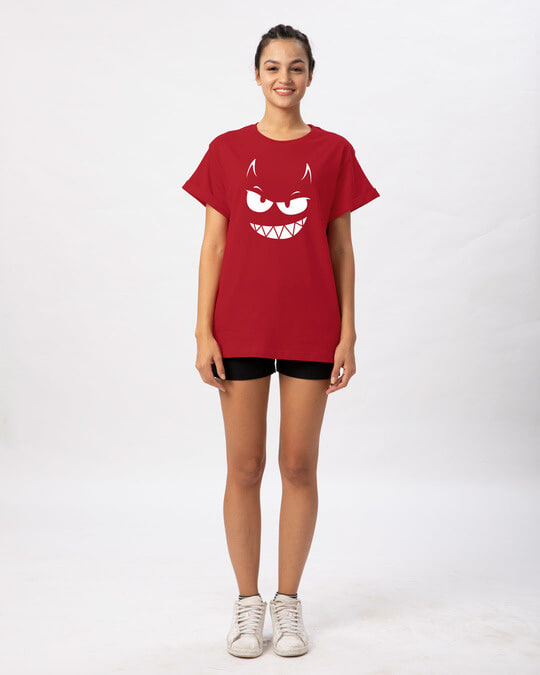 Shop Evil Smiley Boyfriend T-Shirt-Full