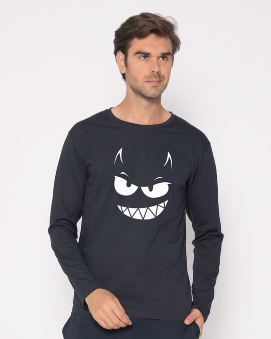 Shop Evil Smiley Full Sleeve T-Shirt-Front