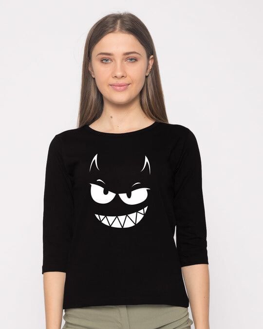 Shop Evil Smiley Round Neck 3/4th Sleeve T-Shirt-Front